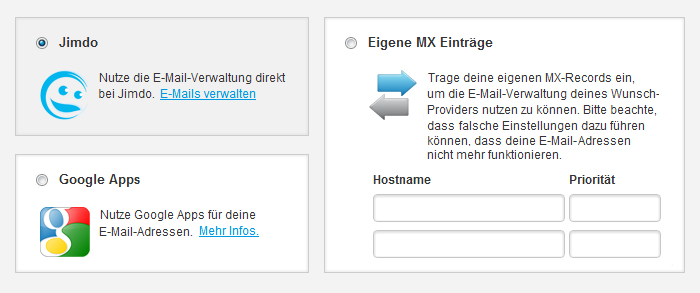 Optionen für den E-Mail Server